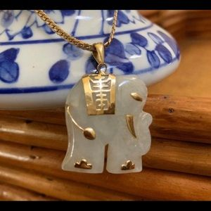 Jade 14k Gold Chinese Elephant Xiang Pendant